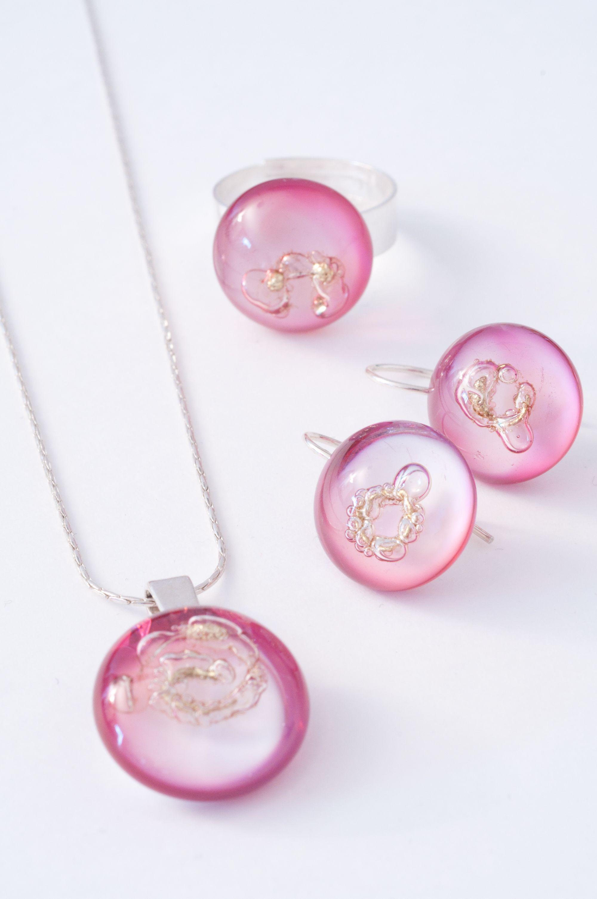 """Parure en verre """"rose à l'or"""" et inclusions de laiton montés sur argent 925"""