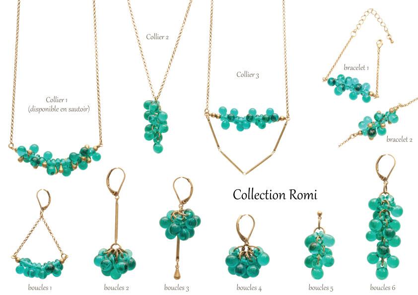 Collection Romi, bijoux en verre filé fabriqué à Paris