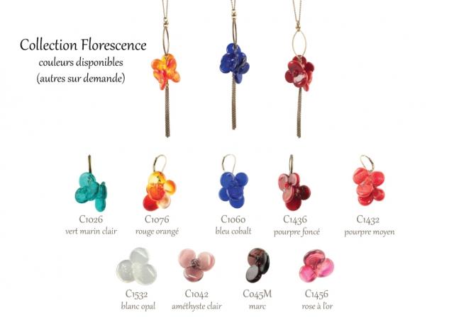 Les couleurs disponibles pour la collection de bijoux en verre Florescence