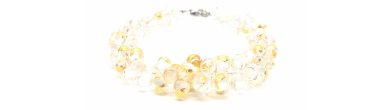 Collier en verre et feuille d'ori paris 14 diatomée bijoux artisanat atelier boutique