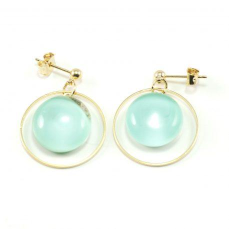 Boucles d'oreilles cabochon en verre , bijoux en verre , bijoux créateur paris , cadeau , artisanat