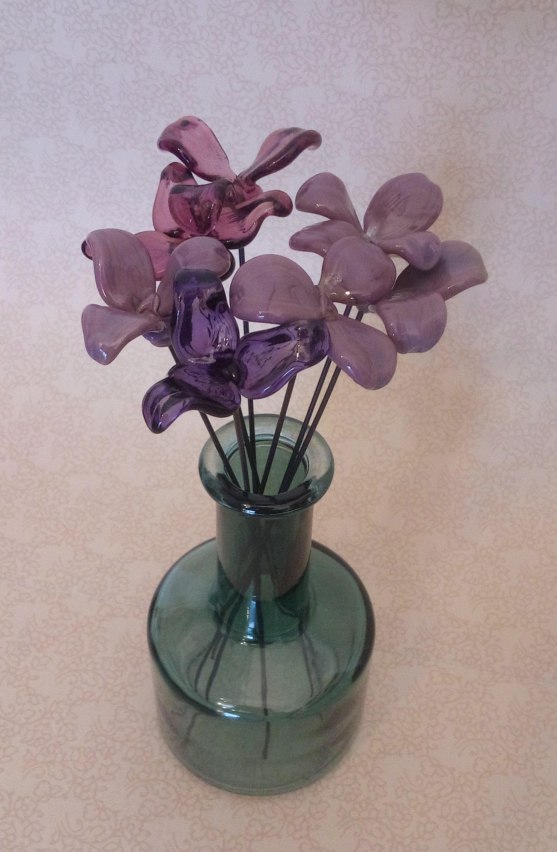 Fleurs sculptées en verre filé au chalumeau paris