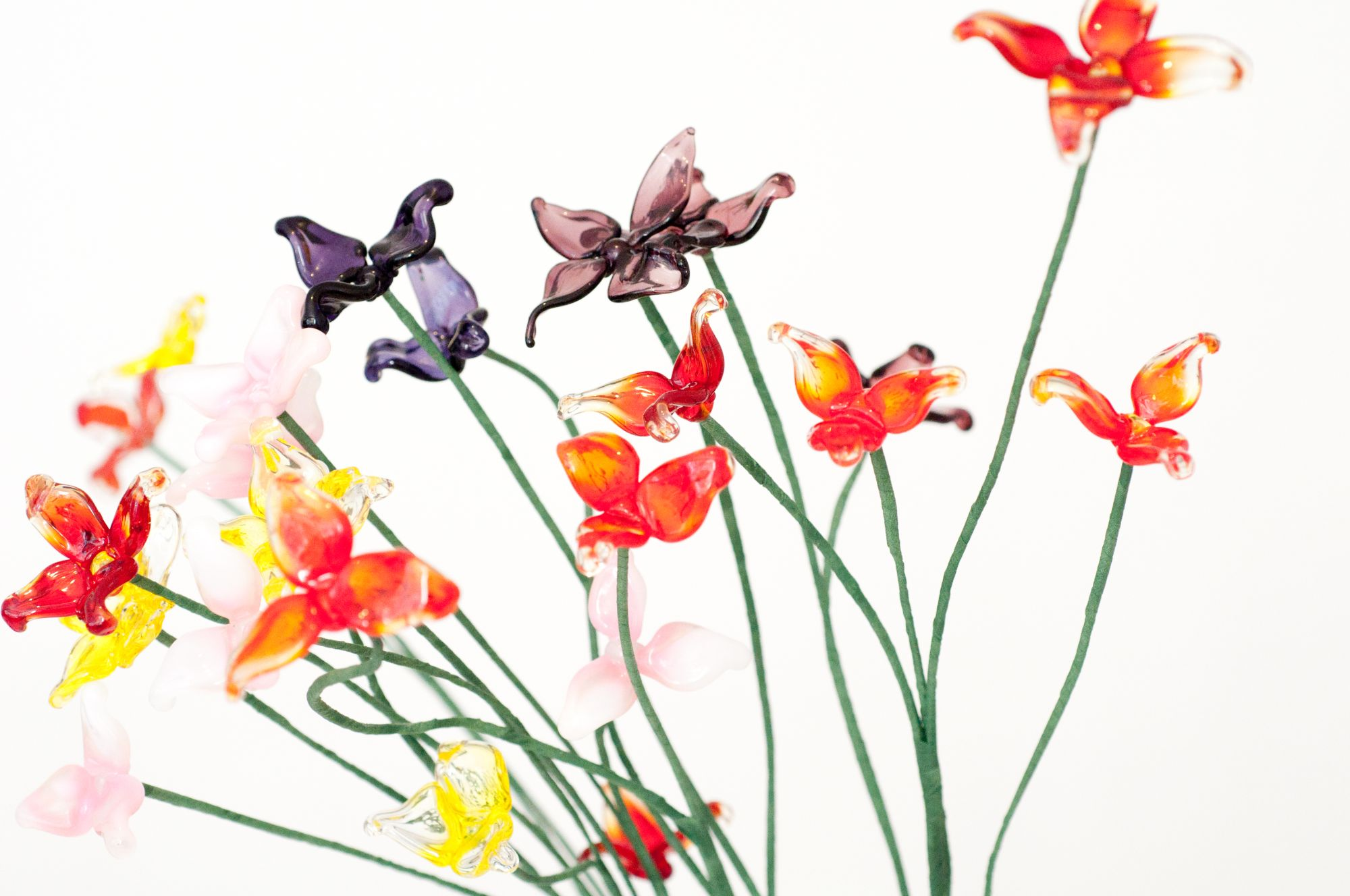 Fleurs en verre filé au chalumeau paris