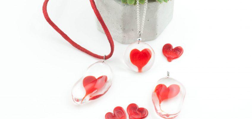 Bijoux en verre coeur paris 14 artisanat fait main label fabriqué à Paris